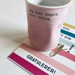 Bilde av kopp med tekst - kapra ein osing