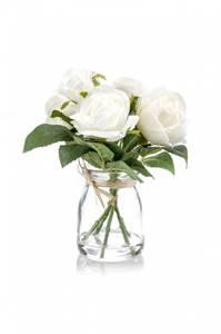 Bilde av Kunstig Rosebukett Hvit i Glass 18cm