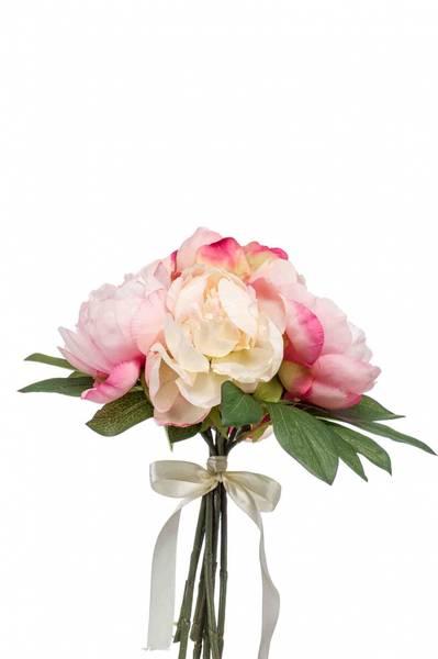 Kunstig Peonbukett Fersken/Rosa 35cm