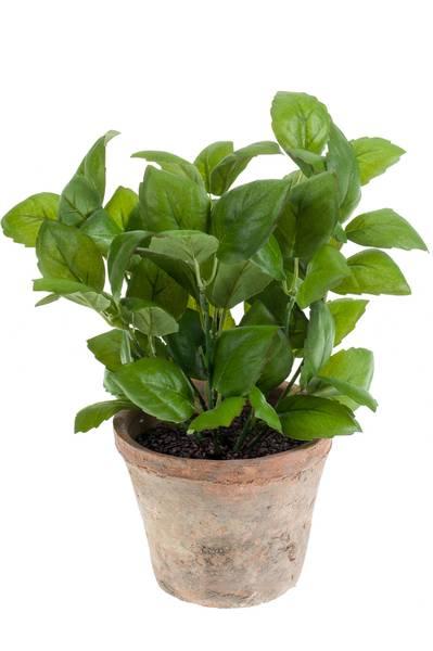 Kunstig Basilikum Plante i Retropotte 32cm