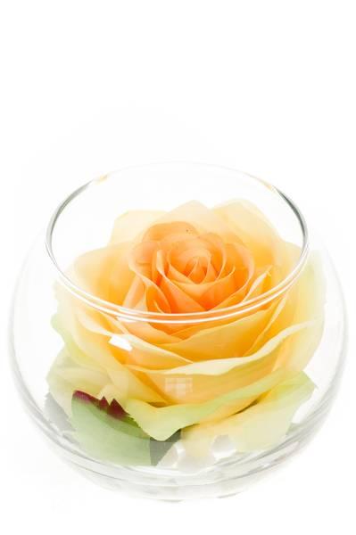 Kunstig Rose Gul 10cm i Glass