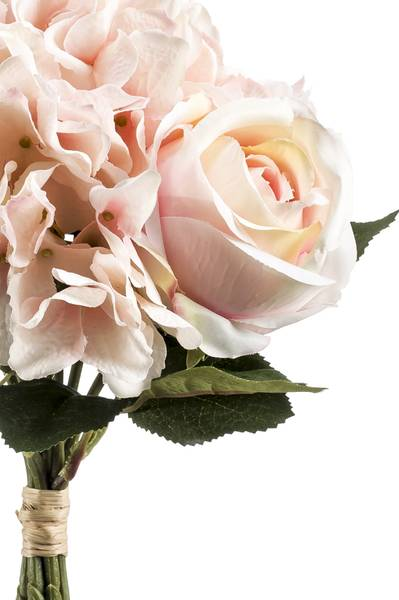 Kunstig Rose/Hortensia Bukett Fersken/Rosa 35cm