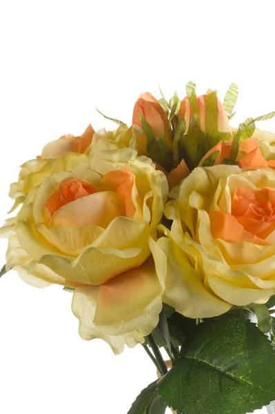 Kunstig Rosebukett Gul 30cm med 6 roser