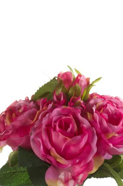 Kunstig Rosebukett Rosa 30cm med 6 roser