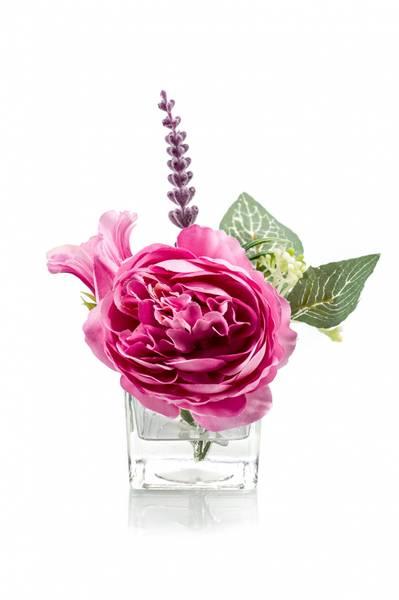 Blomsterdekorasjon i Glass Rosa 11cm