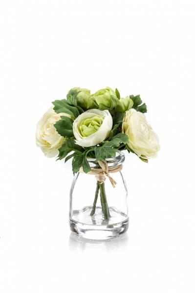 Ranunculus Kremhvit i Glass 15cm