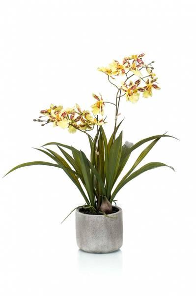 Kunstig Oncidium Orkide Gul i Potte 45cm