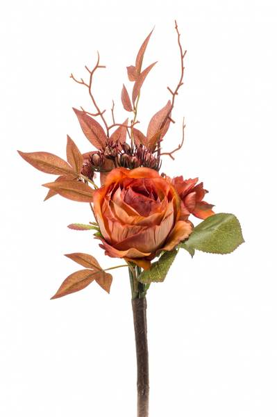 Kunstig Rose/Hortensia Stilk Oransje 28cm