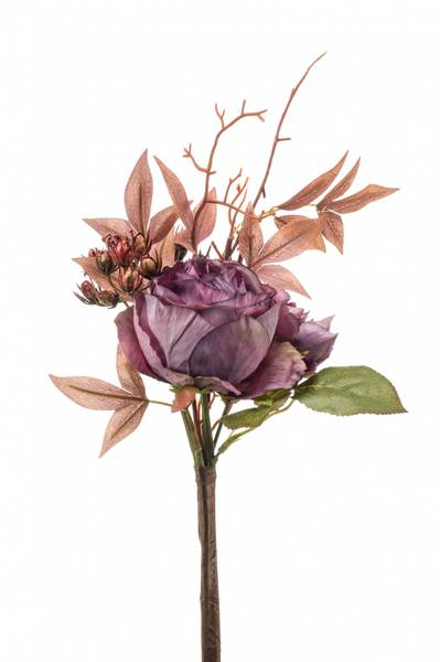 Kunstig Rose/Hortensia Stilk Lilla 28cm