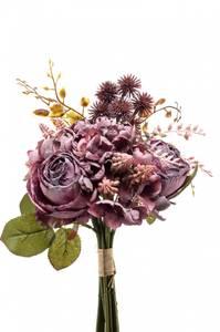 Bilde av Kunstig Rose/Hortensia Bukett Lilla 28cm