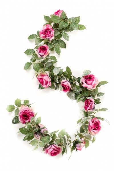 Kunstig Rose Girlander Rosa Snø 180cm