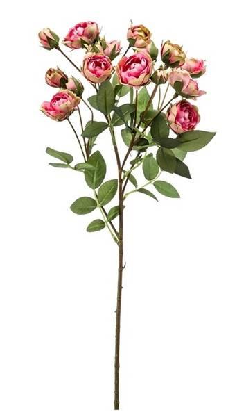 Kunstig Minirose Stilk Rosa/Grønn 57cm