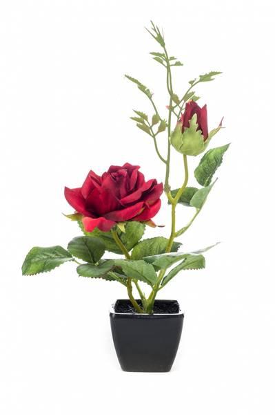 Kunstig Rose Rød i Potte 25 cm