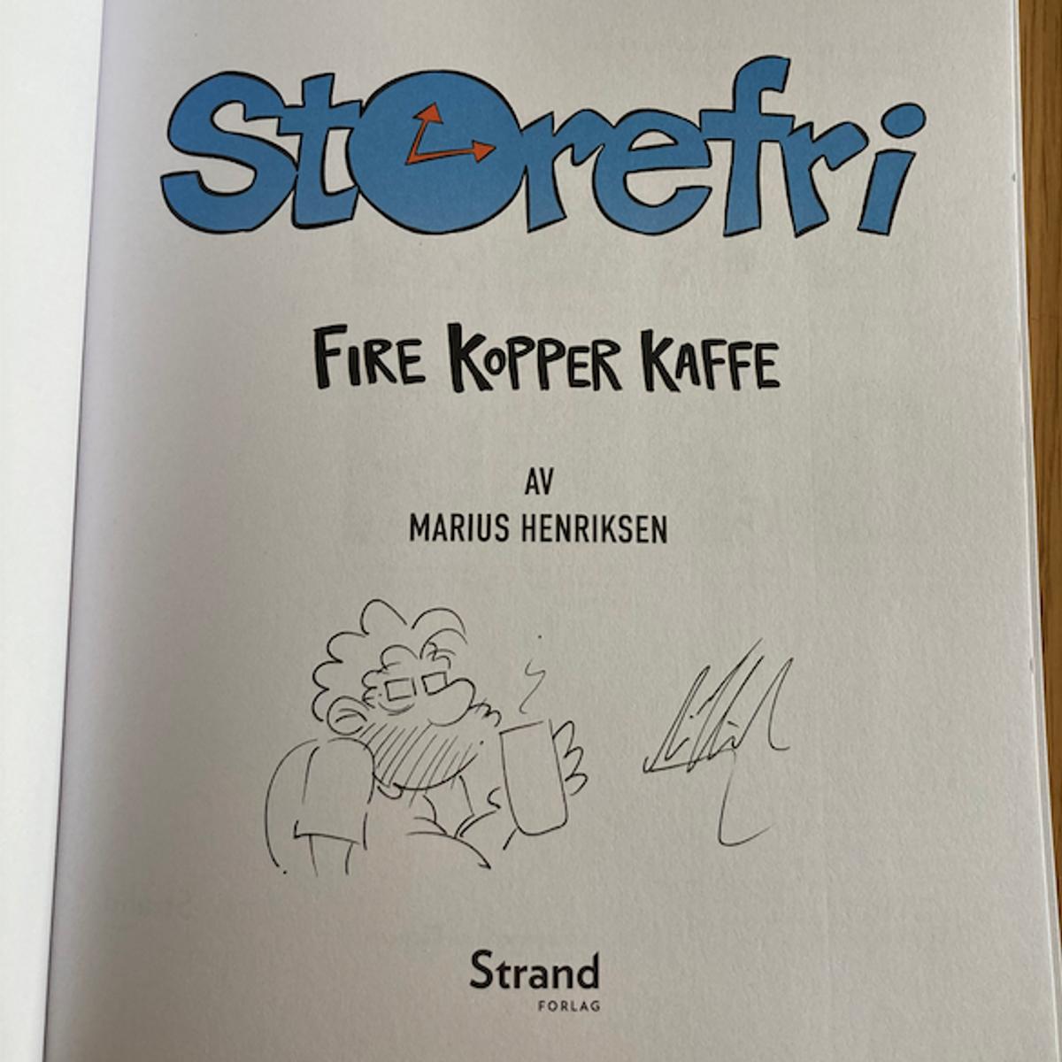 Storefri - Fire kopper kaffe SIGNERT