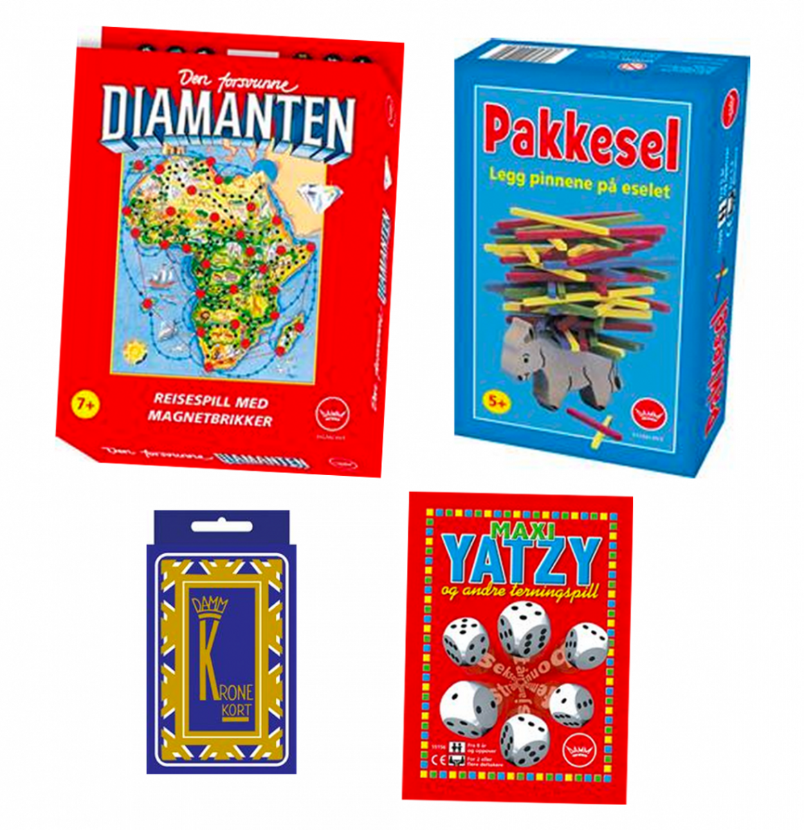 Pakke med fire spill i reisestørrelse