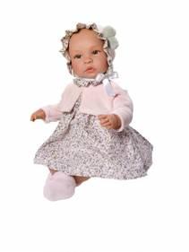 ASI LEONORA 46 cm Blomstrete kjole med rosa jakke og lue