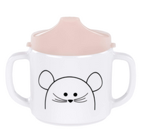 Cup Melamine/Silicone Little Chums Mouse 2-Handle cup with lid