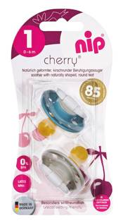 nip round soother Cherry, blue/grey, latex, 0 - 6 months