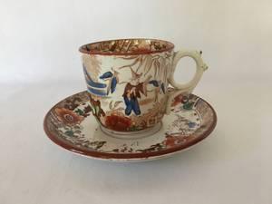 Bilde av Liten kopp og skål med trykt dekor