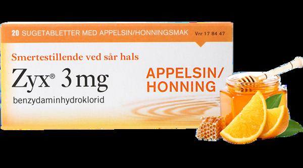 Bilde av Zyx 3mg appelsin/honning 20 sugetabletter
