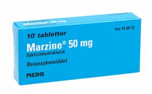 Bilde av MARZINE 50MG 10 TABLETTER