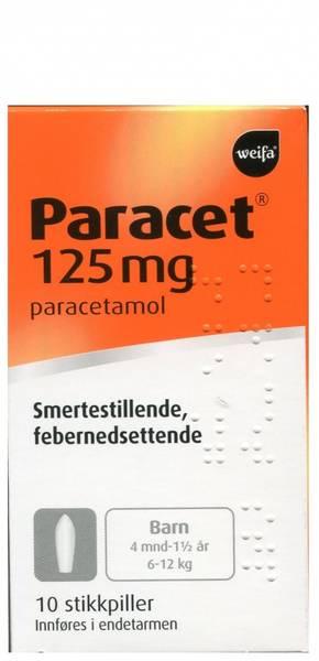 Bilde av Paracet 125 mg 10 stikkpiller