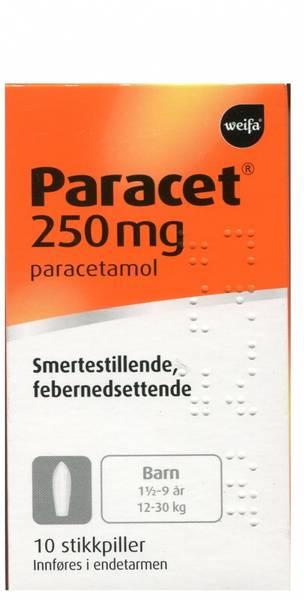 Bilde av Paracet 250 mg 10 stikkpiller