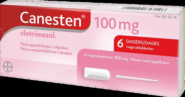 Bilde av Canesten 6 vagitorer tabletter 100 mg m/applikator
