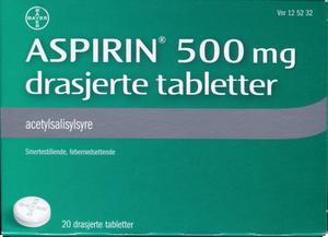Bilde av ASPIRIN TABLETTER 500MG 20 STK