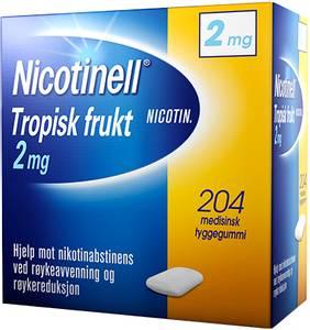 Bilde av NICOTINELL TYGGEGUMMI 2MG TROPISK FRUKT 204 STK