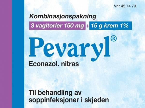 Bilde av Pevaryl 3 vagitorier 150 mg / 15 g krem 1 %