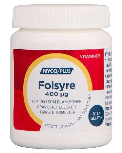 Bilde av Nycoplus folsyre 0,4 mg 100 tabletter