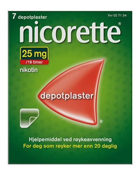 Bilde av Nicorette depotplaster 25 mg/16 timer gjennomsiktig 7 stk