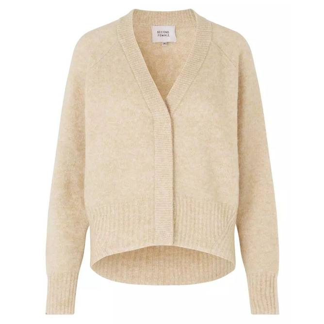 Bilde av Second Female - Brook Knit Boxy Cardigan Offwhite