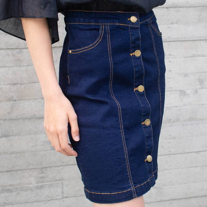 Bilde av The New- Orvelle Skirt- Mørk Blå Denim