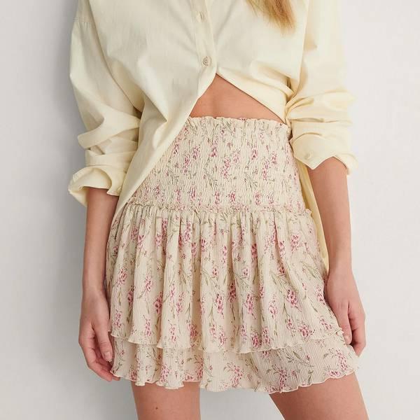 Bilde av NA-KD - Skjørt Mini Smocked Skirt Pink Flower