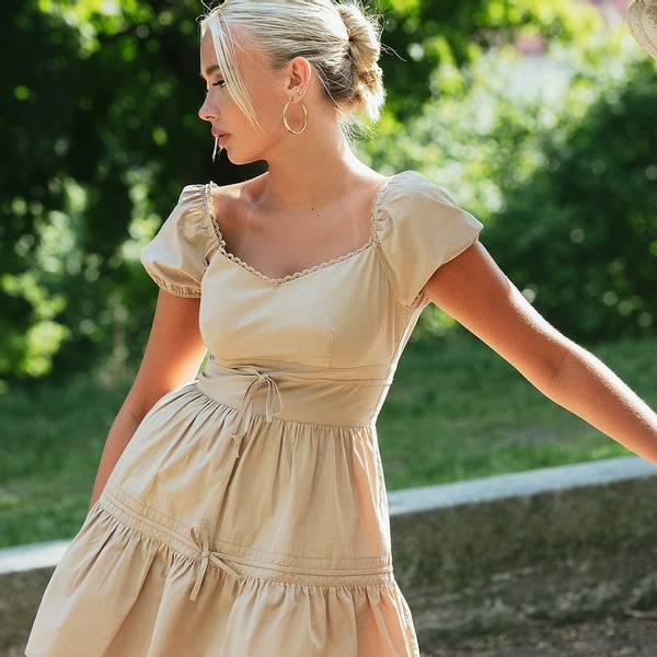 Bilde av NA-KD x Emma Ellingsen Tie Detail Mini Dress