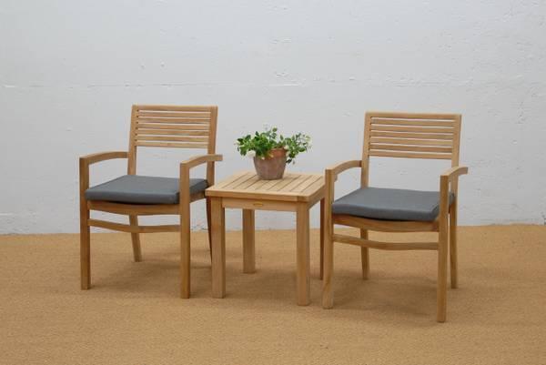 Bilde av Figaro sett 2 stabelbare stoler+bord 50x50 cm - teak