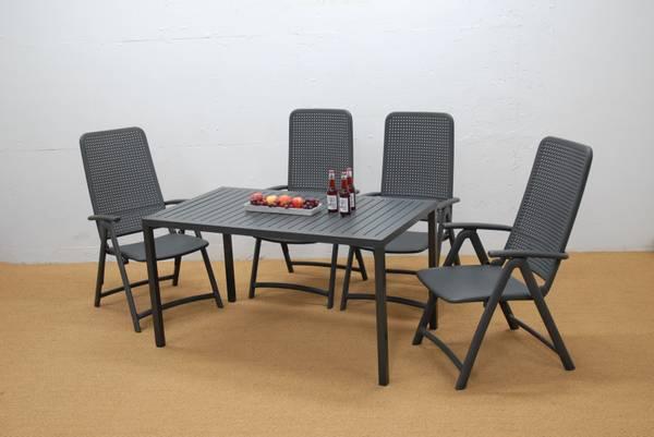 Bilde av Nardi Darsena sett 4 posisjonsstoler+bord 140x80 cm - antrasittgrå