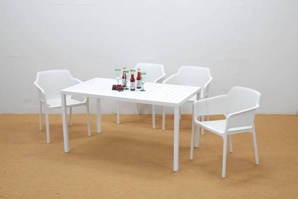 Bilde av Nardi Net sett 4 spisestoler+bord 140x80 cm - hvit