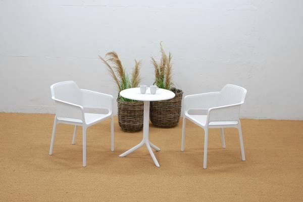 Bilde av Nardi Net sett 2 spisestoler+bord Ø60 cm - hvit