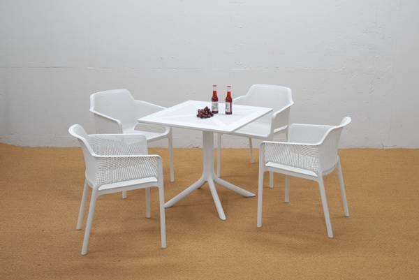 Bilde av Nardi Net sett 4 spisestoler+bord 80x80 cm - hvit