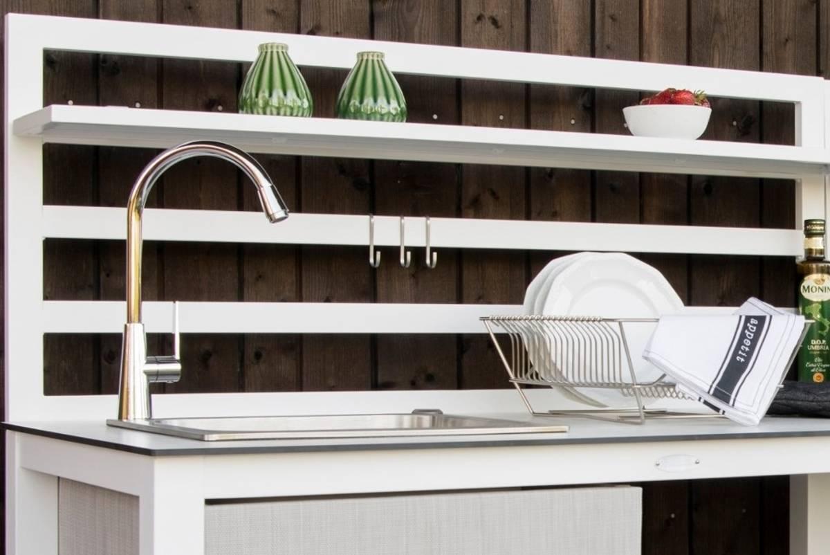 Åminne utekjøkken m/vask og hylle - hvit