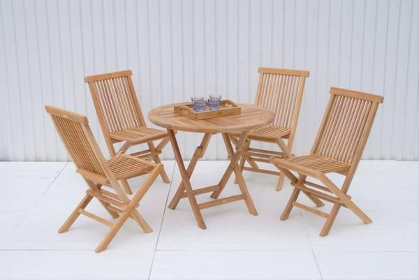 Bilde av Global sett 4 klappstoler+bord Ø90 cm - teak