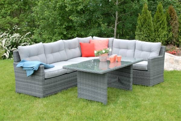 Bilde av Villa hjørnesofa sett m/puter+spisebord - oksidgrå/harmonigrå