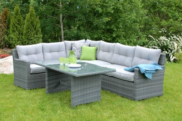Bilde av Villa L hjørnesofa sett m/puter+spisebord - oksidgrå/harmonigrå