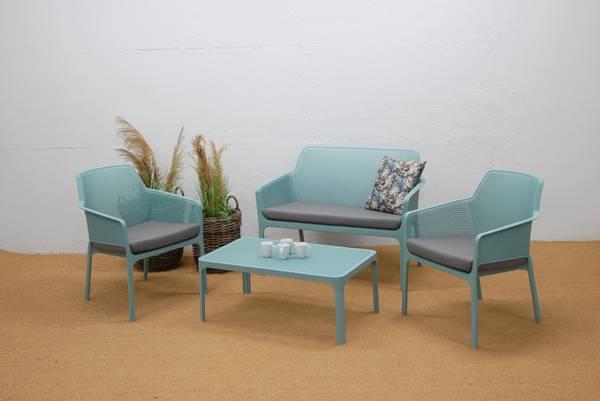 Bilde av Nardi Net 2+1+1 sett m/puter+bord - havgrønn/stengrå