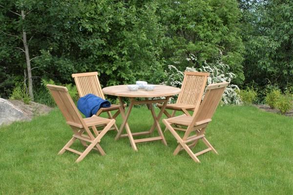 Bilde av Global sett 4 klappstoler+bord Ø100 cm - teak