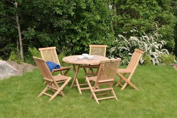 Bilde av Global sett 5 klappstoler+bord Ø100 cm - teak