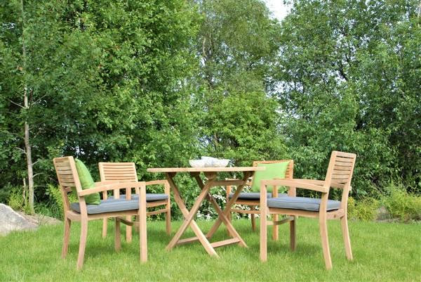 Bilde av Figaro sett 4 stabelbare stoler+bord Ø100 cm - teak
